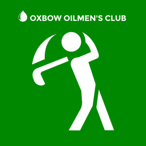Oxbow Oilmen's Golf Classic | white stick figure swinging a golf club on a green background
